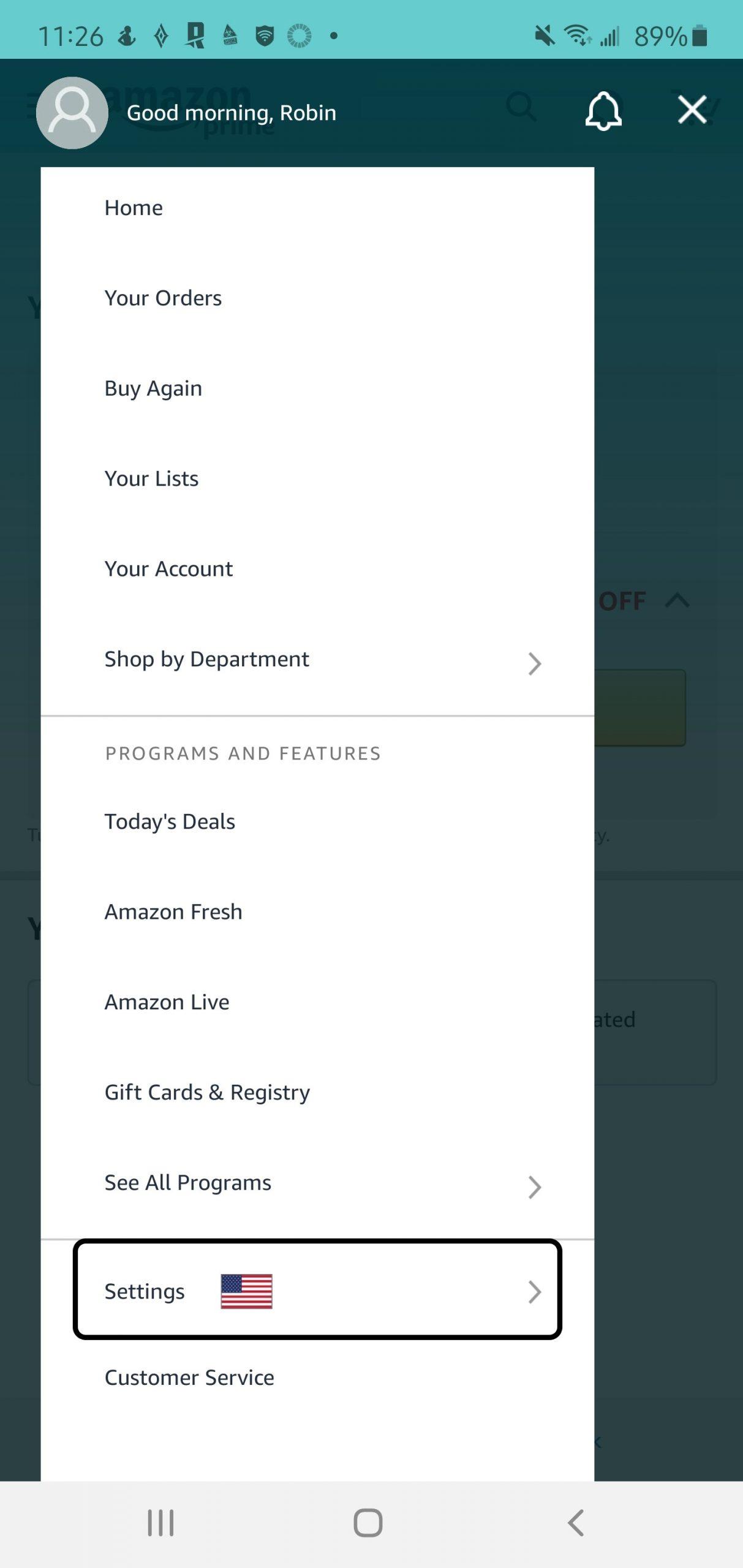 Amazon Smile Mobile Step 2