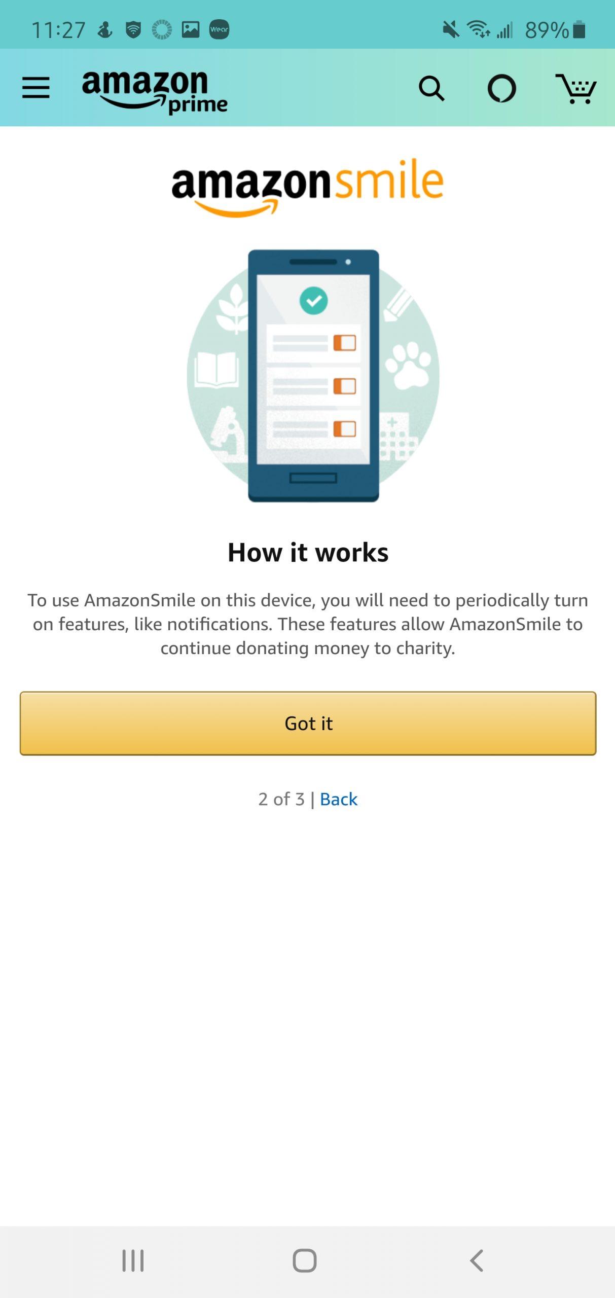 Amazon Smile Mobile Step 6