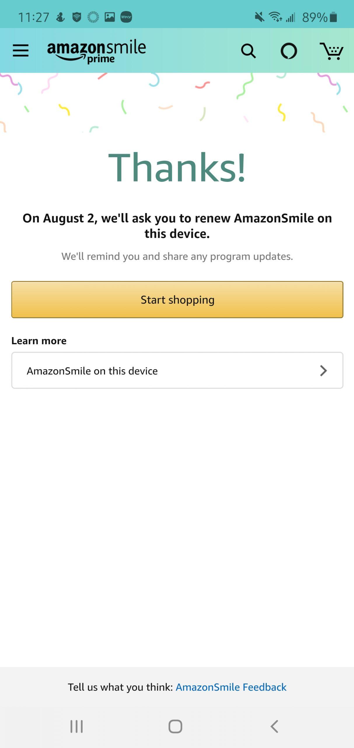 Amazon Smile Mobile Step 8